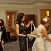 Bridesmaid Ties Gold Bow on Wedding Dress, Carlton Hotel