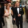 Bride and Groom Walk down Fifth Avenue New York City