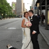 Bride and Groom with their Dog in front of The Flat Iron Building